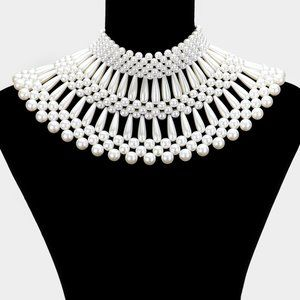Cream Pearl Armor Bib Choker Necklace